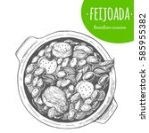 feijoada top view vector... | Shutterstock .eps vector #585955382