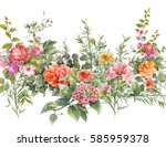 watercolor painting of leaf and ... | Shutterstock . vector #585959378