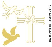 christian cross with the dove... | Shutterstock .eps vector #585959696