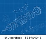 technical blue background with... | Shutterstock .eps vector #585964046