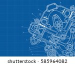 technical blue background with... | Shutterstock .eps vector #585964082