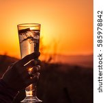 Picture Of A Drink With Sunset...