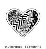 black and white heart.vector... | Shutterstock .eps vector #585988448
