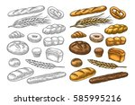 set bread. isolated on the... | Shutterstock .eps vector #585995216