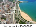 Chicago Aerial View With Gold...