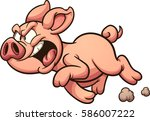 angry cartoon pig. vector clip... | Shutterstock .eps vector #586007222