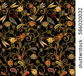 seamless pattern in ethnic... | Shutterstock .eps vector #586020032