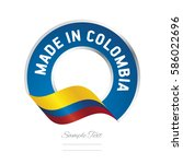 made in colombia flag blue... | Shutterstock .eps vector #586022696