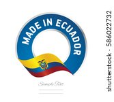 made in ecuador flag blue color ... | Shutterstock .eps vector #586022732