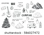 camping objects set.   Shutterstock .eps vector #586027472