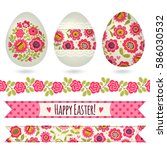 set with easter eggs and...   Shutterstock .eps vector #586030532
