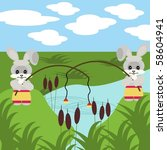 two nice fishing hares with robs | Shutterstock .eps vector #58604941