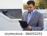 closeup portrait  man in gray... | Shutterstock . vector #586052252