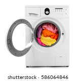 clothes in washing machine on... | Shutterstock . vector #586064846