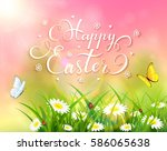 easter theme with a butterfly... | Shutterstock .eps vector #586065638