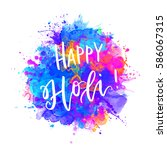 watercolor happy holi and... | Shutterstock .eps vector #586067315