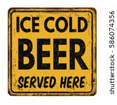 ice cold beer vintage rusty... | Shutterstock .eps vector #586074356