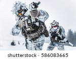 winter arctic mountains warfare.... | Shutterstock . vector #586083665