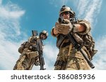 us army rangers pointing... | Shutterstock . vector #586085936