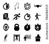 set of 16 training filled icons ... | Shutterstock .eps vector #586086515