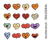 set of cute lovely emoticons.... | Shutterstock . vector #586100846