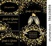 luxury wedding invitation and... | Shutterstock .eps vector #586106858