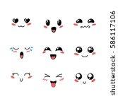 set of cute lovely kawaii... | Shutterstock . vector #586117106
