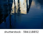 water reflection home in the... | Shutterstock . vector #586118852