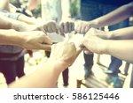 in selective focus of business... | Shutterstock . vector #586125446