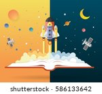 open book with solar system ... | Shutterstock .eps vector #586133642
