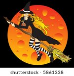 vector witch and the moon | Shutterstock .eps vector #5861338