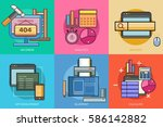 web and development conceptual... | Shutterstock .eps vector #586142882
