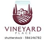 logo of a villa on a vineyard... | Shutterstock .eps vector #586146782