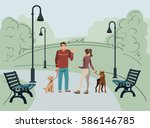 Stock vector young people man and woman walk in the park with their dogs in the morning vector illustration 586146785