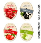 set of labels of berries and... | Shutterstock .eps vector #586152005