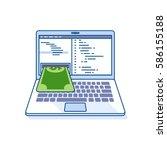 flat line illustration of... | Shutterstock . vector #586155188