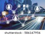 double exposure of man crossing ... | Shutterstock . vector #586167956