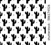 Pattern Of Silhouette Cactus...