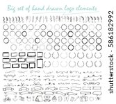 big set of handdrawn elements... | Shutterstock .eps vector #586182992