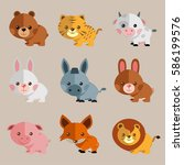 new funny animal vector set | Shutterstock .eps vector #586199576