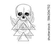 skull with roses. vector... | Shutterstock .eps vector #586206752