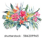 watercolor vintage floral... | Shutterstock . vector #586209965