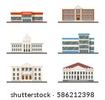set of city buildings ... | Shutterstock .eps vector #586212398