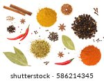 colorful spices and herbs for... | Shutterstock . vector #586214345