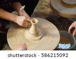 people make manually ceramic in ...   Shutterstock . vector #586215092