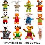 Stock photo set of knitted animals isolated on white background 586233428