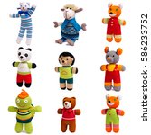 Set Of Knitted Animals Isolate...