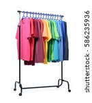 mobile rack with color clothes... | Shutterstock . vector #586235936