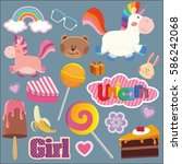 set of vector stickers. unicorn ... | Shutterstock .eps vector #586242068