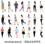 collection back view of running ... | Shutterstock . vector #586243955